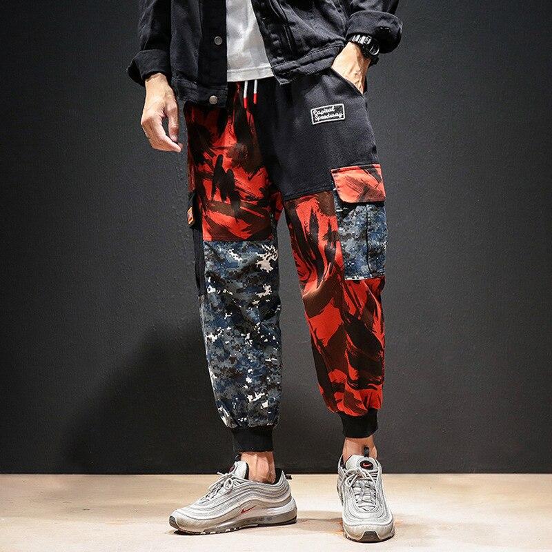 Men Color Block Cargo Pants 2020 Streetwear Hip Hop Harem Pant Ankel Length Camo Pants Patchwork Sweatpants Camouflage