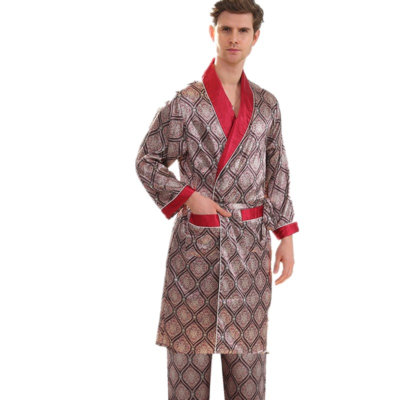 5XL 4XL 3XL банные мужские халаты Шелковый халат, мягкая, удобная, с длинными рукавами кимоно мужской банный халат с принтом халаты атласная одежда для сна ночная рубашка для мужчин