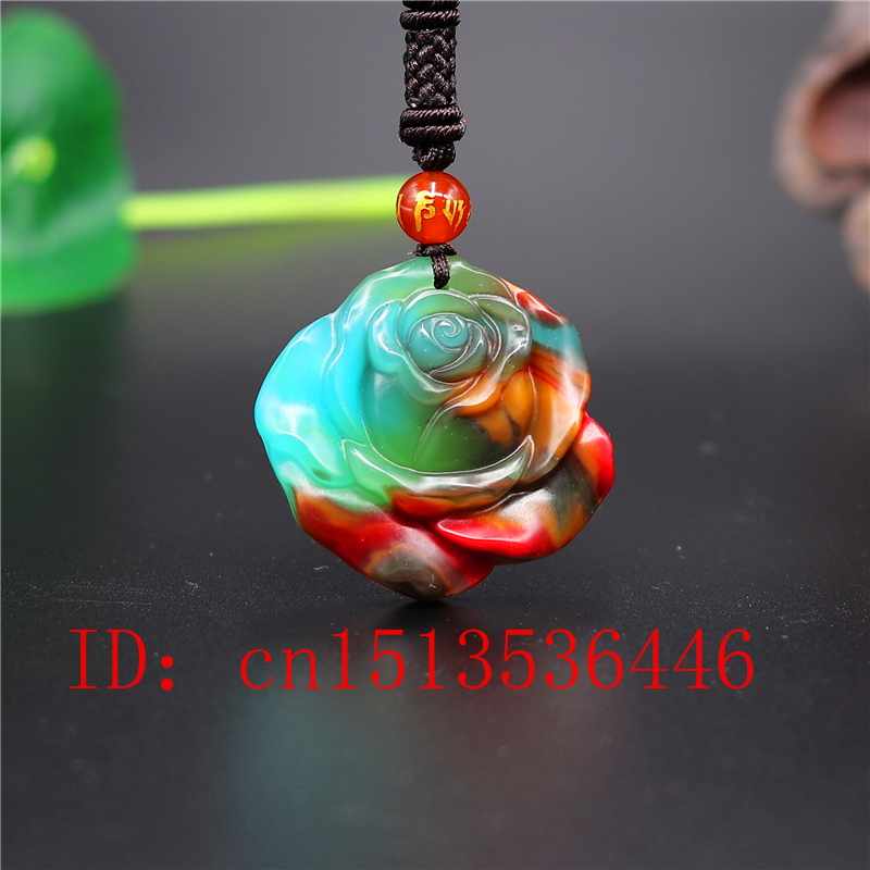 Chinese Color Jade Rose Pendant Flower Necklace Charm Jewellery Fashion Accessories Hand-Carved Amulet Gifts For Women Her