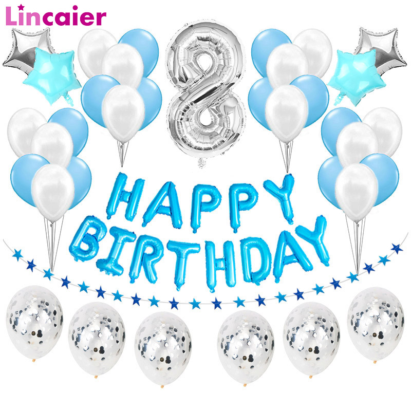 Number 8 Foil Balloons Happy <font><b>Birthday</b></font> Party Decorations 8 Years Old Eighth <font><b>8th</b></font> Boy Girl Eight Supplies Latex Ballon Silver Blue image
