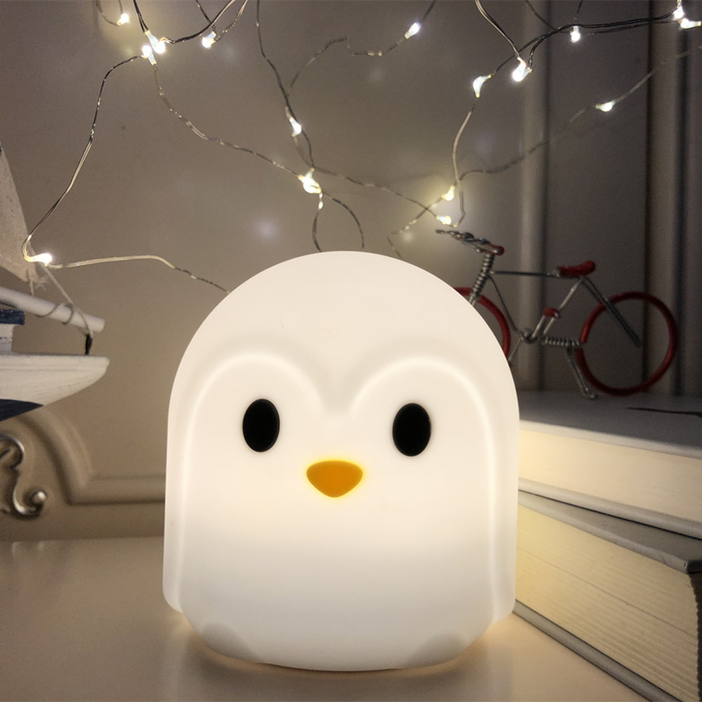 Touch Sensor Colorful Penguin LED Night Light Cartoon Silicone Battery Powered Bedroom Bedside Lamp For Children Kids Baby Gift