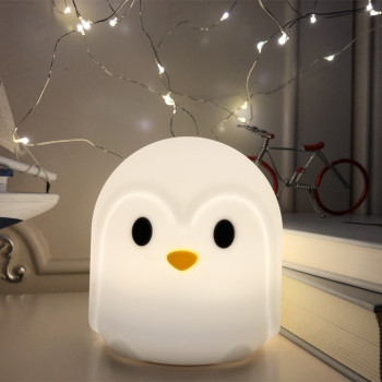 Touch Sensor Colorful Penguin LED Night Light Cartoon Silicone Battery Powered Bedroom Bedside Lamp for Children Kids Baby Gift night light newest style the totoro usb portable touch sensor led baby nightlight bedside lamp touch sensor night lamp for kids
