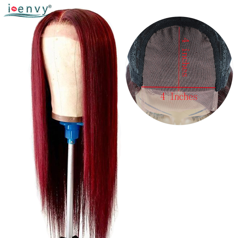 Brazilian 99J Lace Closure Human Hair Wig Straight 4*4 Lace Closure Red Burgundy Colored Human Hair Wigs For Women Non Remy