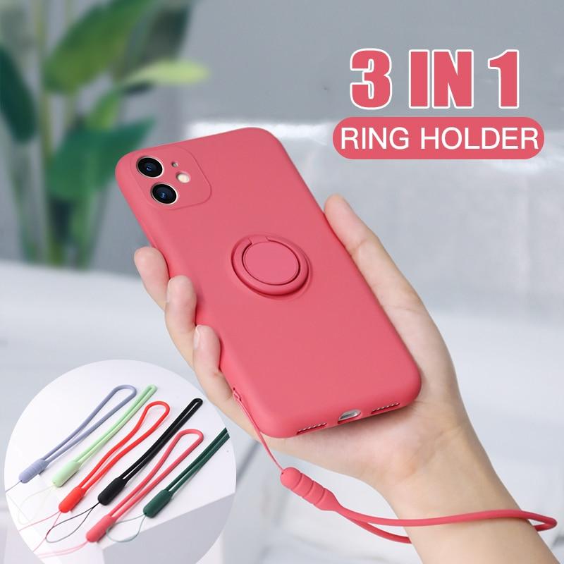 Custodia con supporto per anello magnetico in Silicone originale per iPhone 11 Pro XS max XR XS X 8 7 6s 6 Plus custodia morbida per supporto per auto 2