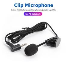 3.5mm Mini Studio Speech Microphone High-quality Adjustable Clip-on Collar Lapel Mic for PC Notebook Laptop Mobile Phone