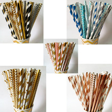 Wedding-Decorations Paper Straws Drink-Supplies Party Disposable Tableware Foil Happy-Birthday