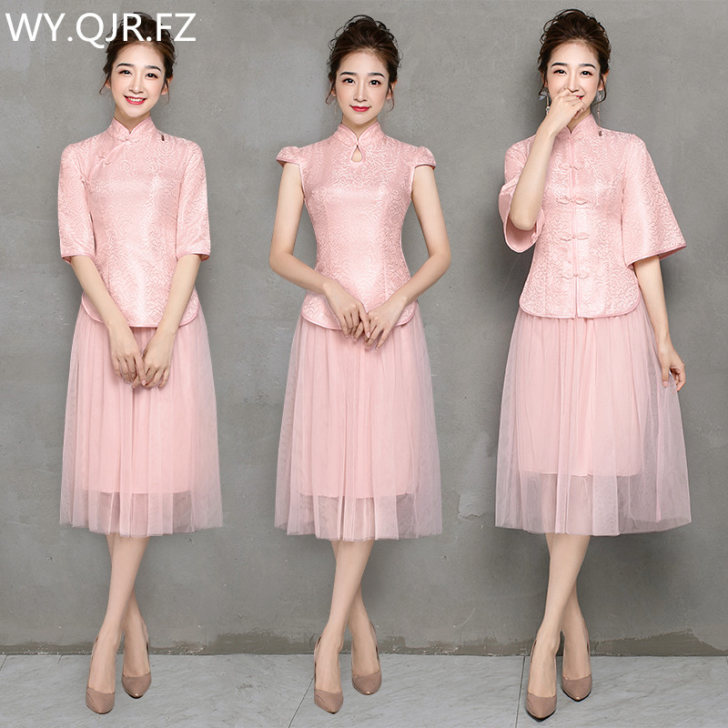 ZX-B3#Bridesmaid Dresses Short Improved Cheongsam Toast Suit Wedding Party Dress Pink Red Gold Two-piece Dress Cheap Wholesale