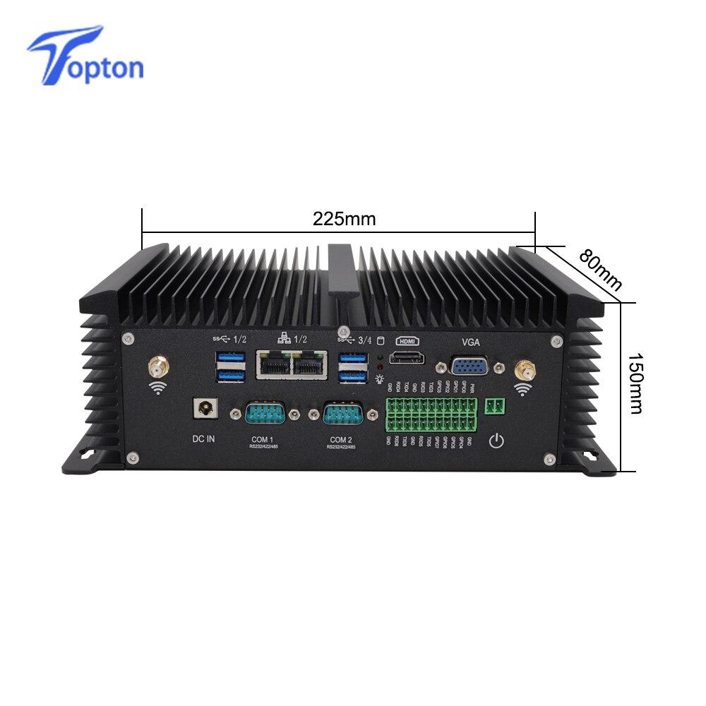 New Industrial Fanless Mini PC I5 8250U I7 7500U 2*DDR4 2*Lans Desktop Computer Win10 Linux 2*COM GPIO 4G SIM VGA HDMI WiFi