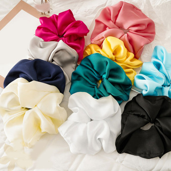 Candy Color Silky Satin Hair Rope Women Oversized Scrunchies Soft Hair Ring Elastic Hair Band Smooth Hair Accessories Headwear image