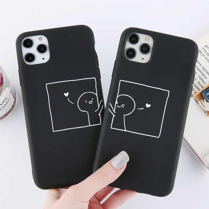 Lovebay komik çiftler aşk kalp telefon kılıfı iPhone 11 Pro Max X XS XR Xs Max yumuşak TPU basit kapak için iPhone 6 6s 7 8 artı