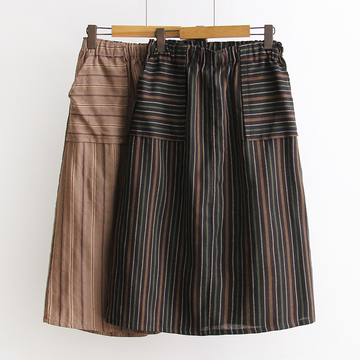 S9539 Spring And Summer New Style WOMEN'S Dress Mori Girl Versatile Elastic Waist Stripes Skirt Skirt Loose And Plus-sized Long