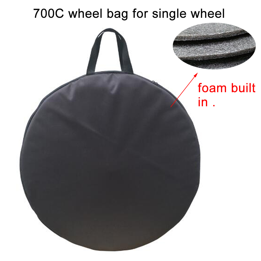 <font><b>Bicycle</b></font> bike solo <font><b>wheel</b></font> bag cover <font><b>700C</b></font> 72cm foam built in bike storage cover carry case for <font><b>bicycle</b></font> transport bag travel case image