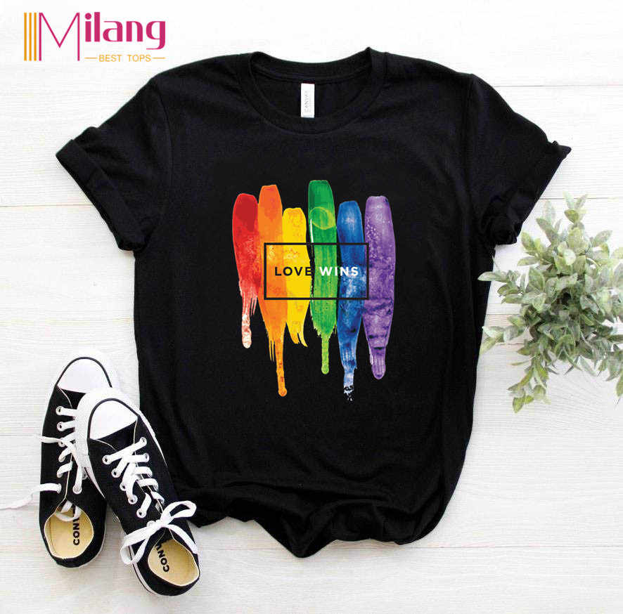 Women LGBT Rainbow T-shirts Female Short Sleeve Tees Girl Tops 2020 Summer Brand Love is Love Clothing
