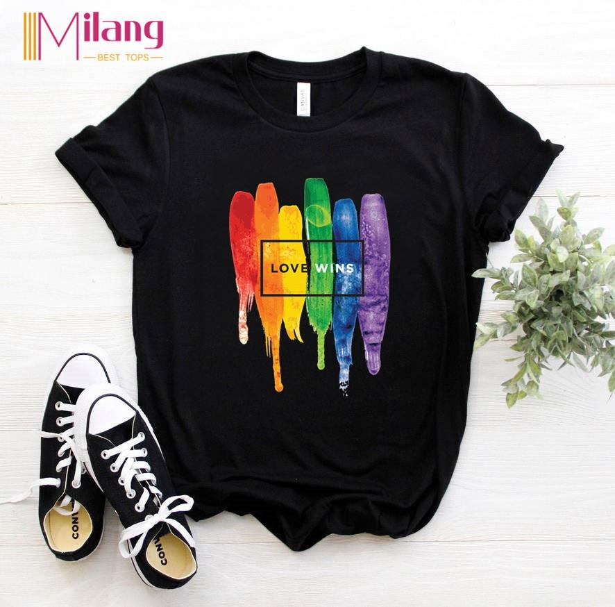 Women LGBT Rainbow T-shirts Female Short Sleeve Tees Girl Tops 2020 Summer Brand Love is Love Clothing