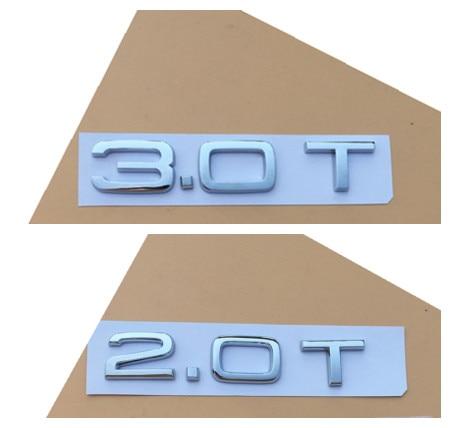1.8T Chrome Metal Badge Rear Boot Emblem For Audi S Line A 1 2 3 4 5 6 7 Q RS S