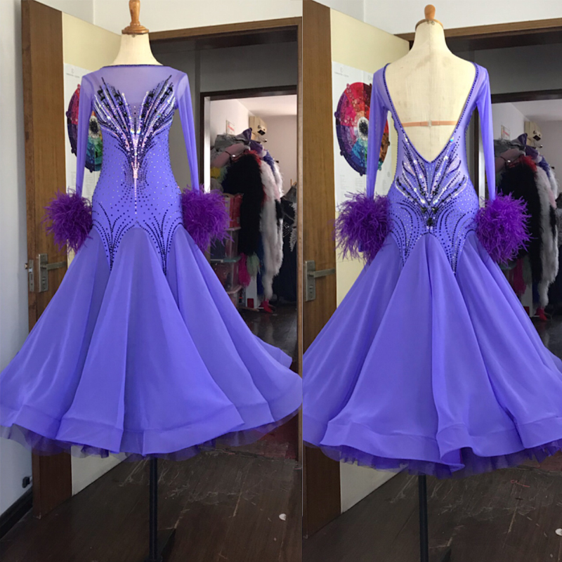 2019New! Ballroom Dance Dress For Women Competition Dresses Long Sleeve Standard Dress White Dancing Clothes Costumes Purple