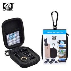 APEXEL 5 em 1 Universal Kit Lente Da Câmera Lente Macro Lente Olho de Peixe + 2 em 1 & Wide Angle lente + lente CPL Filtro e 2X
