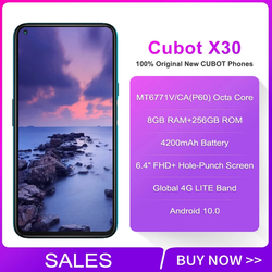 Cubot X30 глобальная версия смартфона Android 10 48MP Five Camera 8GB 128GB/256GB 6,4 дюймFHD + полноэкранный дисплей Helio P60 NFC Phone