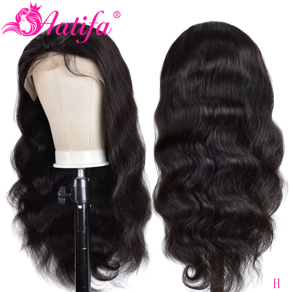 Aatifa Brazilian Body Wave Human Hair 4*4 Lace Closure Wig Straight Human Wig For Black Women Remy 100% Human Hair