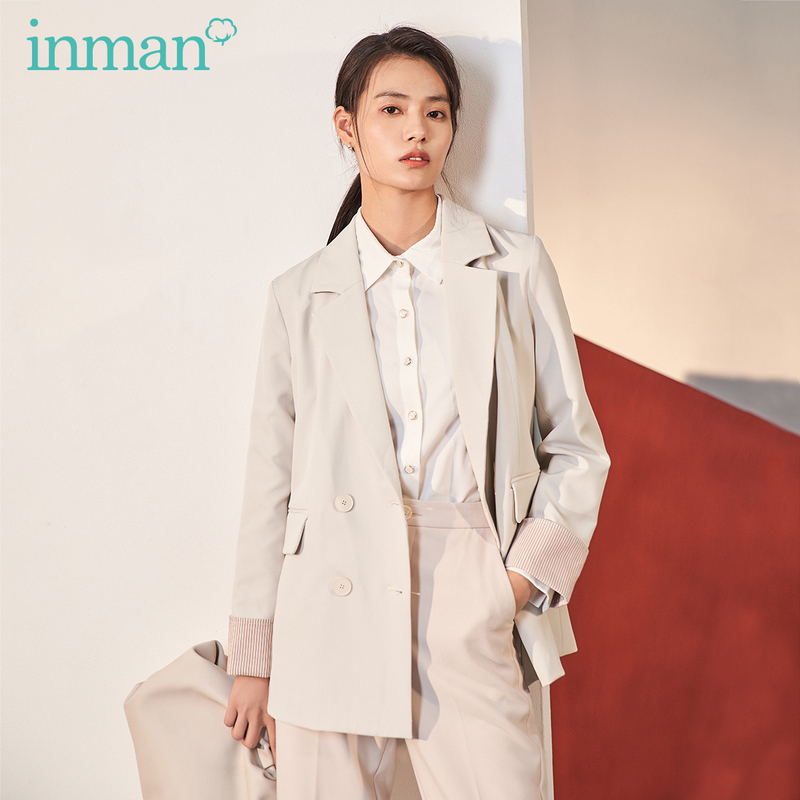 INMAN 2020 Spring New Arrival Literary Concise Style Commuter Lapel Double-breasted Loose Women Suit