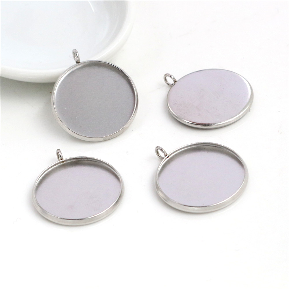 ( No Fade ) 10pcs 20mm Inner Size Stainless Steel Material Simple Style Cabochon Base Cameo Setting Charms Pendant Tray (D3-24)