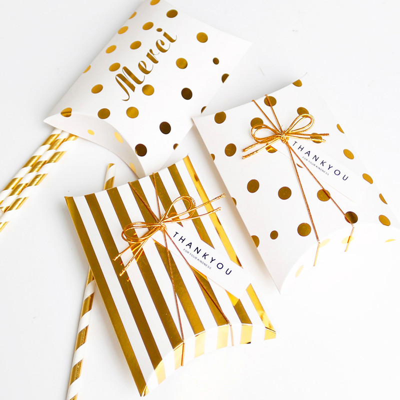 5pcs Paper Gift Box Pillow Shape Box Golden Striped Dots Paper Box Bag Merci Thank You Candy Box Wedding Packaging Kid Party