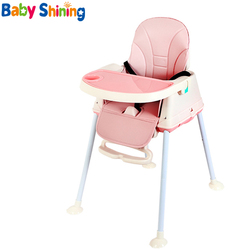 Baby Glänzende Hochstuhl Esszimmer Booster Sitze Tisch Stuhl Mit Rädern Fütterung Sitz Faltbare Tragbare Weiche Leder Höhe-einstellen