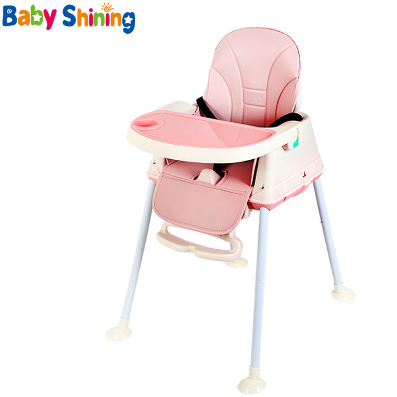 Baby Shining Highchair Dining Booster Seats Table Chair With Wheels Feeding Seat Foldable Portable Soft Leather Height-adjust
