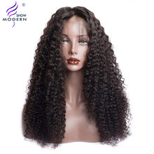 Modern Show 4*4 Lace Closure Human Hair Wigs Peruvian Deep Curly Closure Wig Pre Plucked For Black Women 150% Density Remy Wig(China)