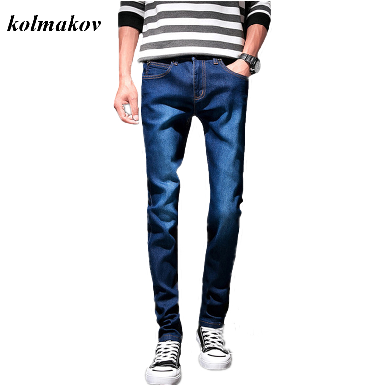 2020 New Style Men Boutique Denim Jeans Small Feet Pants Slim Stretch Blue Pants Men's Trendy Wild Trousers Size 27-36