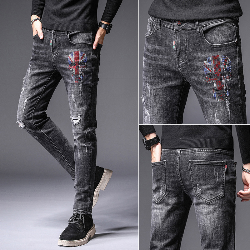Spring And Autumn New Style Men Elasticity With Holes Slim Fit Pants Jeans Korean-style Fashion Patch Ripped Jeans Trousers