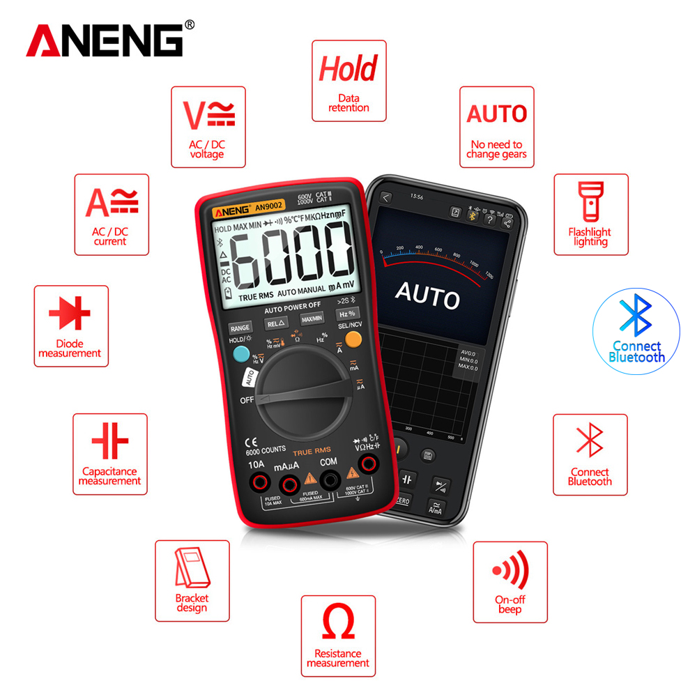 Tools : ANENG AN9002 Bluetooth Digital Multimeter 6000 Counts Professional MultimetroTrue RMS AC DC Current Voltage Tester Auto-Range