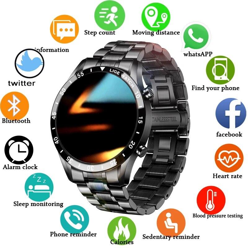ליגע 2021 חדש Bluetooth שיחת שעון חכם שעון גברים מלא מגע גשש כושר לחץ דם חכם שעון גברים שעון חכם + תיבה