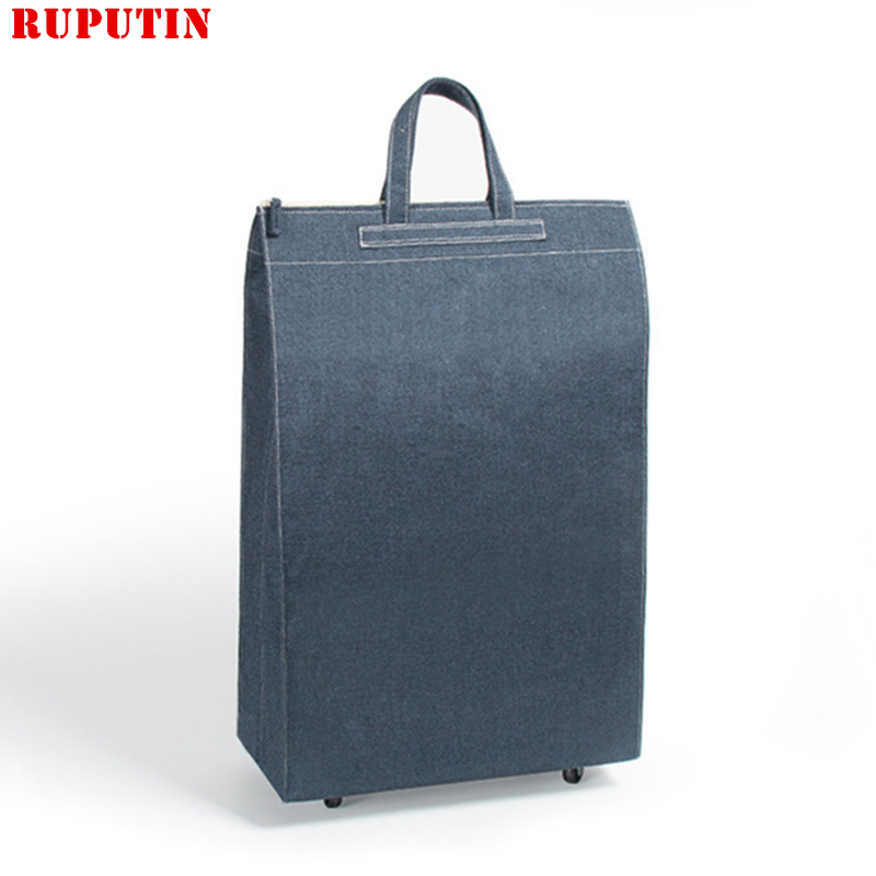 Small Wheel Boarding Travel Bag Collapsible Ladies Shopping Bag Grocery Puller Trolley Bag Wheel Portable Storage Shopping Cart