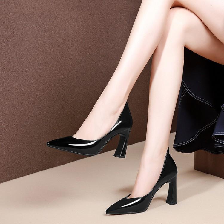Hoge hakken vrouwen lente en herfst dikke hak vrouwen schoenen leren schoenen vrouwen witte schoenen PU8.5cm wit hakken - 2