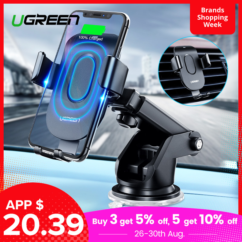 Ugreen Wireless-Charger Stand Qi Car Samsung iPhone X for XS 8 S9 Fast Car-Phone-Holder
