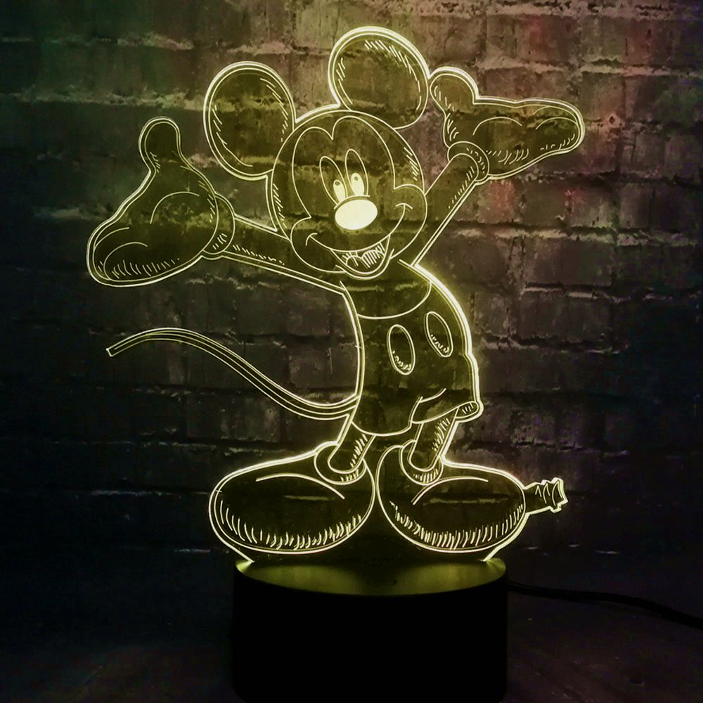 Novel 3D Cartoon Acrylic Mickey Mouse LED Baby Electronic Products Room Decor Mood Night Table Light 7 Color Change Kids Gift