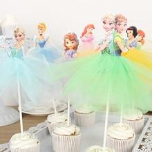 Disney dondurulmuş elsa ve anna prenses kek peçe kızlar favor kek toppers doğum günü kek parti dekorasyon anniversaire fille