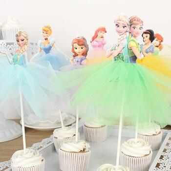 Disney-velo de Pastel de princesa de Frozen para niñas, decoración de tartas y tartas de cumpleaños, aniversario