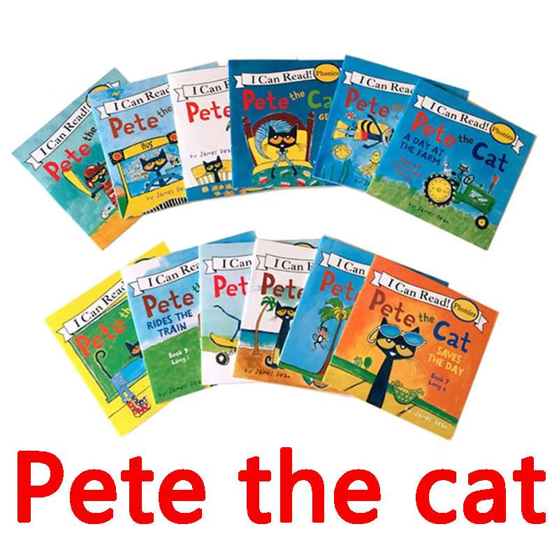 12 Book/Set I Can Read The Pete Cat English Books For Kids Story Libros Educational Toys For Children Pocket Reading Livros Art