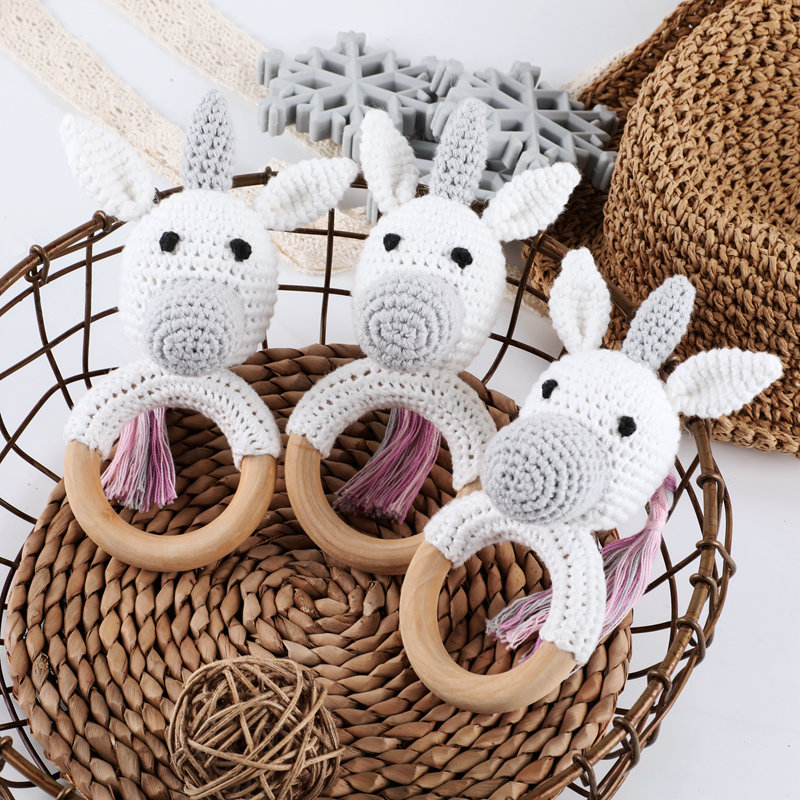 Let's Make 1PC Baby Rattles Crochet Animal Rabbit Dog Knitting Gym Toys Hanging Bed Bell 0-12 Months Cute Baby Educational Toys