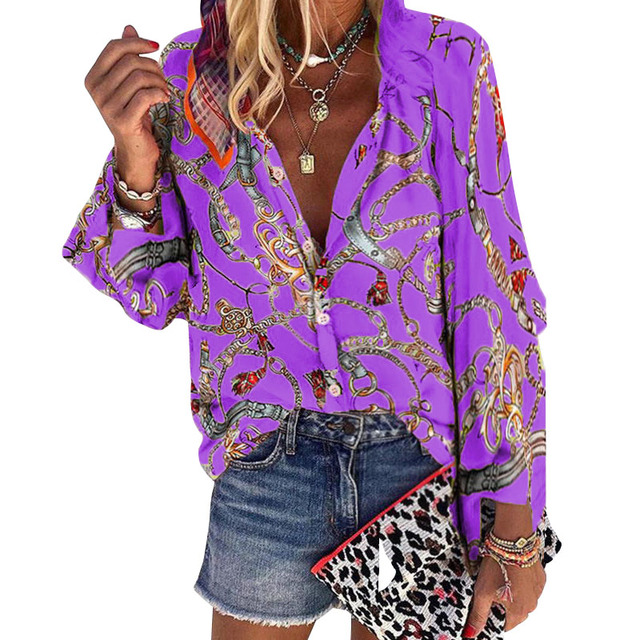 2020 New Design Plus Size Women Blouse V-neck Long Sleeve Chains Print Loose casual Shirts Womens Tops And Blouses 4