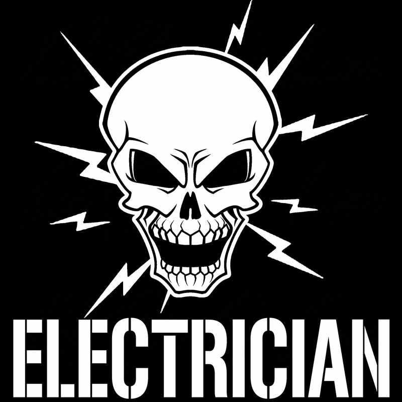 Aliauto Persoonlijkheid Auto Sticker Schedel En Bliksem Bouten Elektricien Elektrische Vinyl Decal Accessoires Zwart/Zilver, 17 Cm * 18 Cm