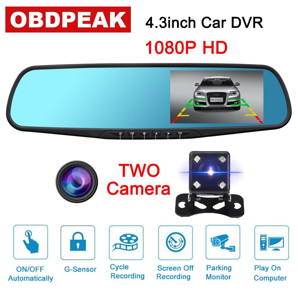 Автомобильный видеорегистратор на зеркало заднего вида, 4,3 дюйма, FHD 1080P