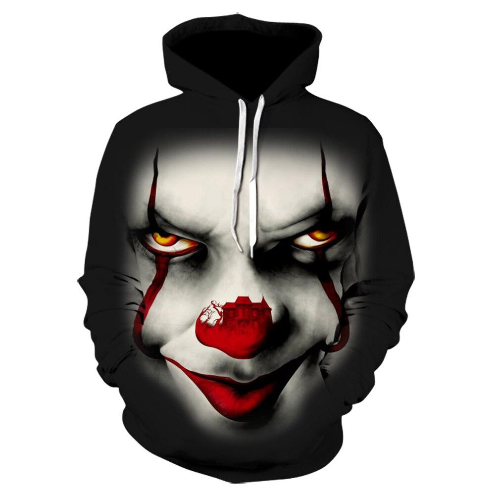 Movie Stephen King IT Cartoon 3D Printing Hooded Sweatshirt For Men Women The Clown Pennywise Hoodies Halloween Cosplay Costume