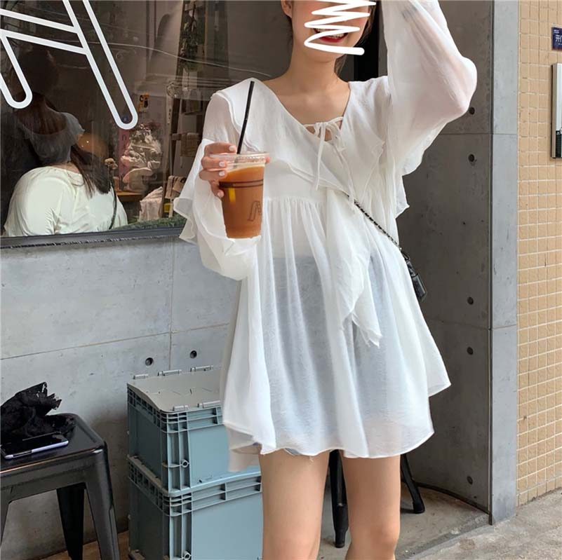 NiceMix Elegant White Casual Loose Ruffles Long Flare Sleeves 2019 Summer Solid V Neck Vintage Sweet High Quality Basic Shirts in Blouses amp Shirts from Women 39 s Clothing