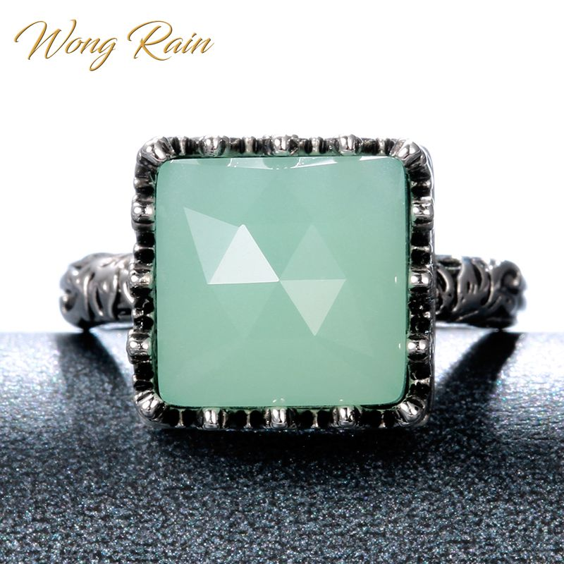 Wong Rain Vintage 100% 925 Sterling Silver Created Moonstone Gemstone Wedding Engagement Cocktail Ring Fine Jewelry Wholesale