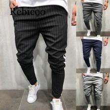 Mens twill fashion jogging pants 2019 new striped urban straight casual Slim fitness trousers S-3XL