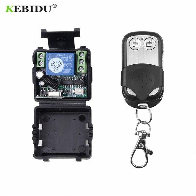 KEBIDU DC 220V 10A 1CH RF 433MHz Wireless Remote Control Switch Receiver Module + Transmitter Kit 433 Mhz Remote Controls