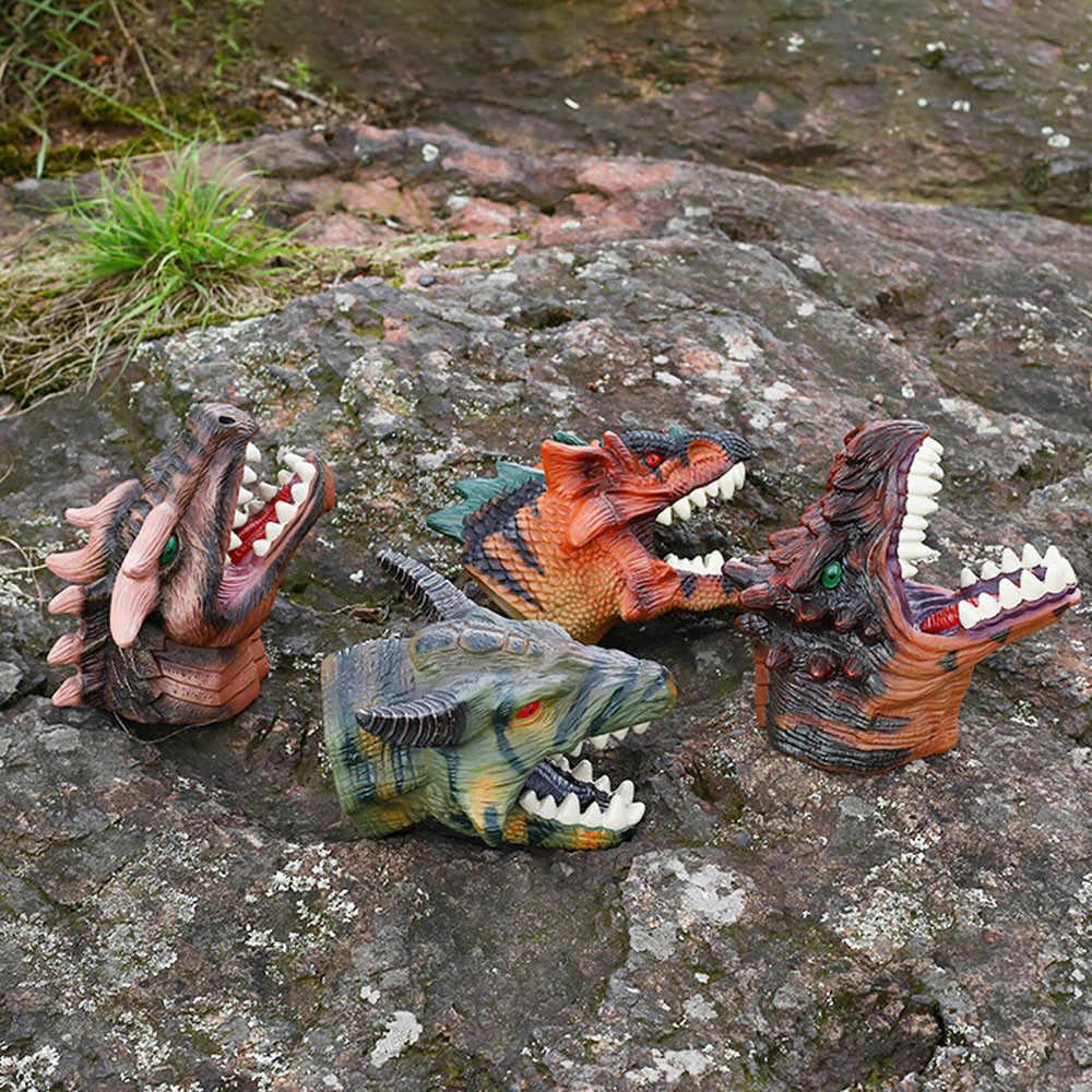 Pvc Dinossauro Realista Cabeça Tiranossauro Storytelling Fantoche de Mão Brinquedos Do Bebê Noite Cabeça de Animal Luvas Modelo Toy Presente Das Crianças